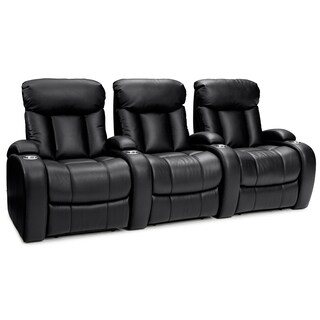 Seatcraft Sausalito Black Leather Gel Manual Recline Home Theater Seating (Row of 3)