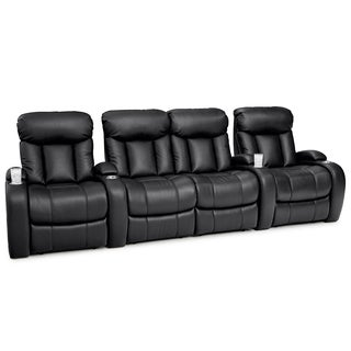Seatcraft Sausalito Black Leather Gel Home Theater Seating Manual Recline Row of 4 with Loveseat