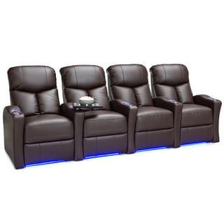 Seatcraft Raleigh Leather Gel Home Theater Seating Power Recline - Row of 4 Brown  sc 1 st  Overstock.com : leather recliner loveseats - islam-shia.org