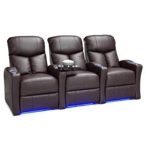 Seatcraft Raleigh Leather Gel Home Theater Seating Power Recline with Space-Saver Armrests Brown Row of 3