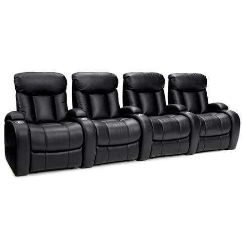 Seatcraft Sausalito Leather Gel Home Theater Seating Power Recline with Cup Holders Black Row of 4