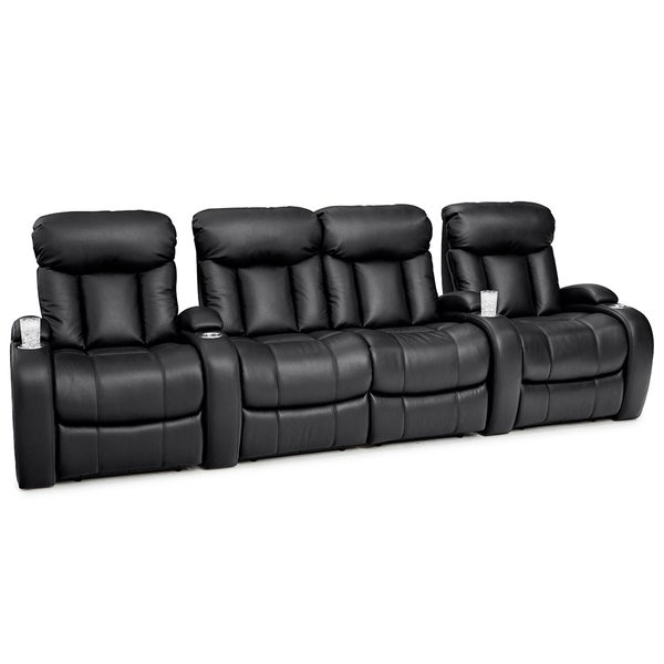 Seatcraft sausalito black leather gel power recline home theater seating with loveseat row of 4 Loveseat theater seating