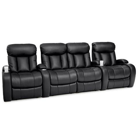 Seatcraft Sausalito Leather Gel Home Theater Seating Power Recline with Cup Holders Black Row of 4 with Middle Loveseat