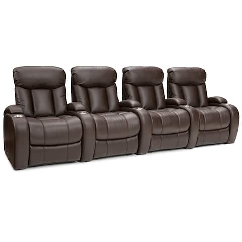Seatcraft Sausalito Leather Gel Home Theater Seating Manual Recline with Cup Holders Brown Row of 4