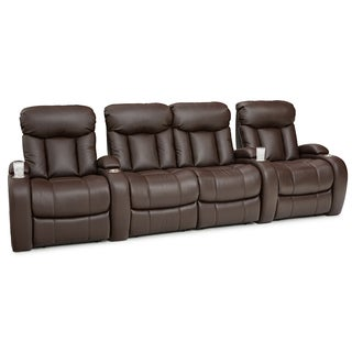 Seatcraft Sausalito Brown Leather Gel Home Theater Manual Recliner Seating (Row of 4 With Loveseat)