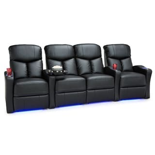 Seatcraft Raleigh Leather Gel Home Theater Seating Power Recline with Space-Saver Armrests Black Row of 4 Middle Loveseat
