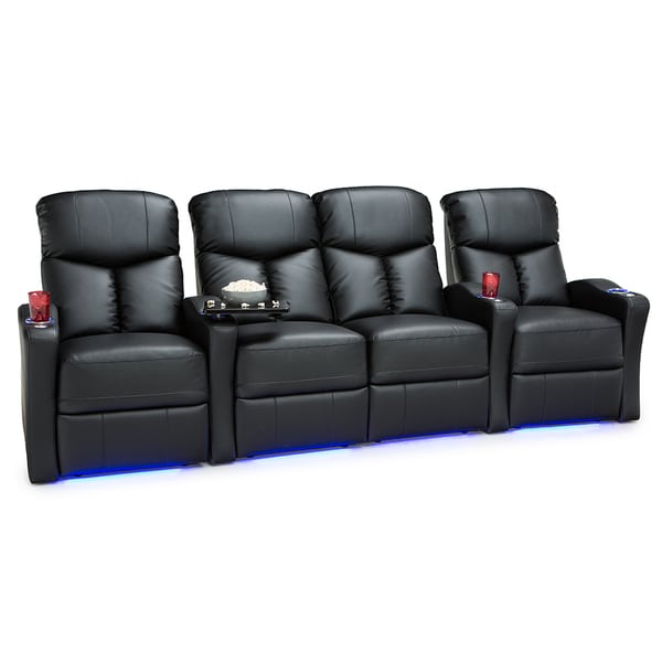 Shop Seatcraft Raleigh Leather Gel Home Theater Seating Power Recline With Space Saver