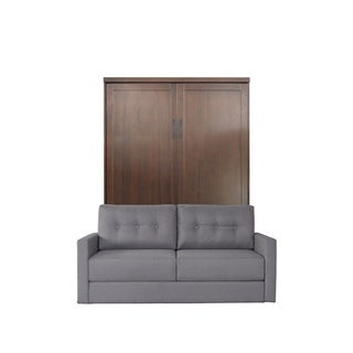 Queen Andrew Sofa-Murphy Bed in Cappuccino Finish and Heather Tweed Fabric