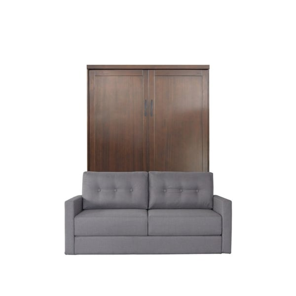 Queen Andrew Sofa Murphy Bed In Cappuccino Finish And Heather Tweed Fabric