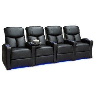 Seatcraft Raleigh Leather Gel Home Theater Seating Power Recline - Row of 4, Black