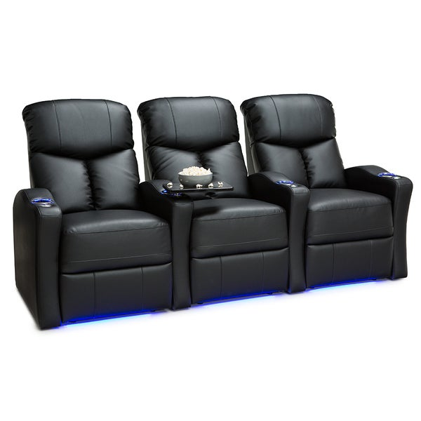 Seatcraft Raleigh Leather Gel Home Theater Seating Power Recline with Space-Saver Armrests Black Row of 3