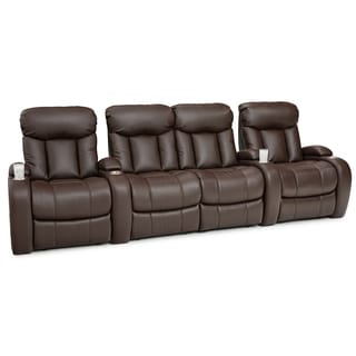 Seatcraft Sausalito Brown Leather Gel Home Theater Seating Power Recline Row of 4 with Loveseat