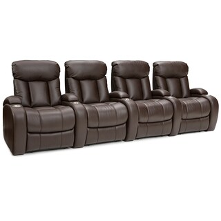 Seatcraft Sausalito Brown Leather 4-seat Power Recline Home Theater Seating