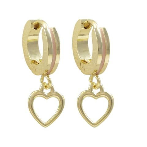 Luxiro Gold Finish Open Heart Enamel Children's Hoop Earrings