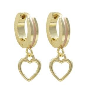 Luxiro Gold Finish Open Heart Enamel Children's Hoop Earrings