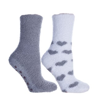 Kissables Spa Collection: Fluffy Chenille Socks (2 Pairs)-Lavender Capsule Infused-One Size Fits Most (Sizes: 6-10) - Womens