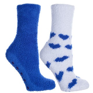 Kissables Spa Collection: Fluffy Chenille Socks (2 Pairs)-Lavender Capsule Infused- One Size Fits Most (Sizes: 6-10) - Womens