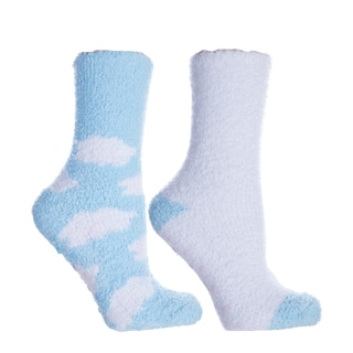 Fluffy Chenille Socks (2 Pairs)-Lavender Capsule Infused- Womens-One Size Fits Most (Sizes: 6-10) - Womens