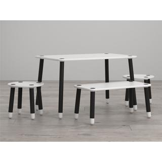Little Seeds Clover Black and White Play Table and Bench Set