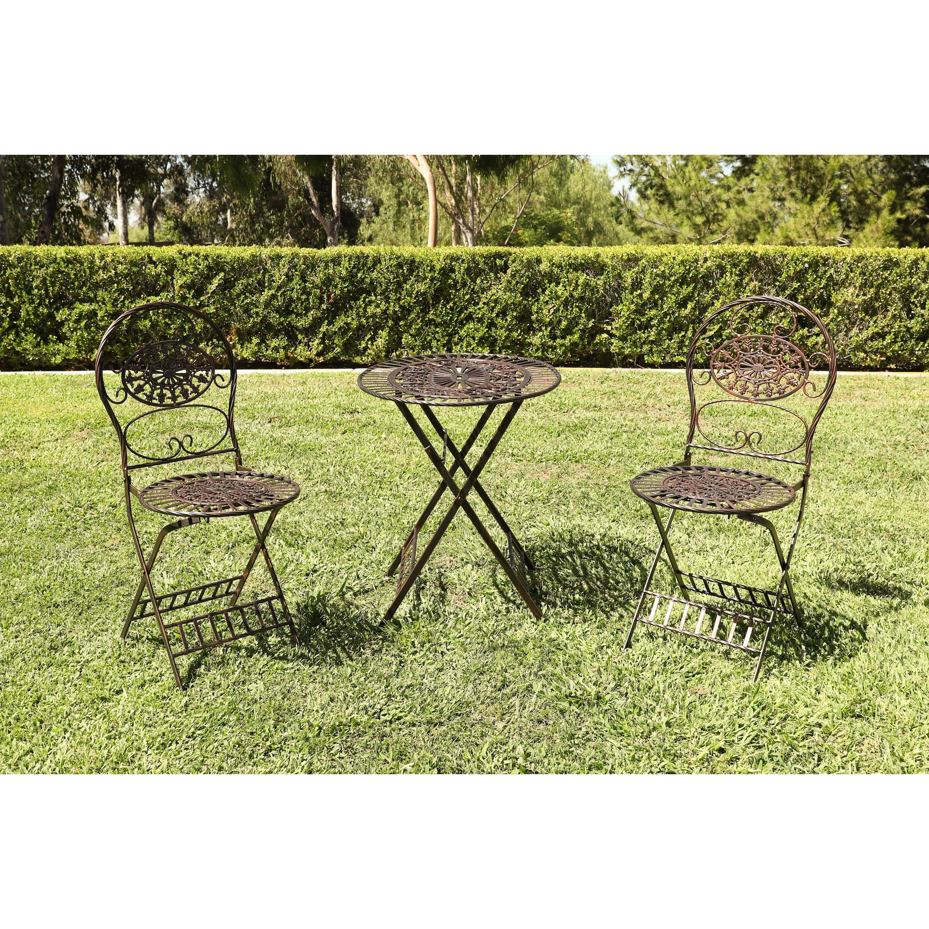 Alpine Corporation Brown Metal Bistro Table-and-chairs Se...