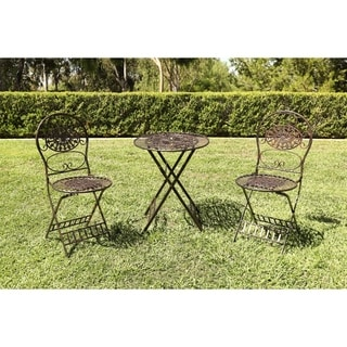 Alpine Corporation Brown Metal Bistro Table-and-chairs Set