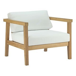 Modway Bayport Natural Teak Outdoor Patio Armchair With White Cushions