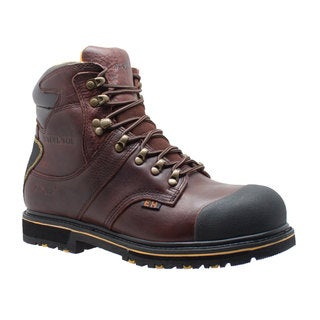 "Men's 6"" Steel Toe Waterproof Work Boot Dark Brown"