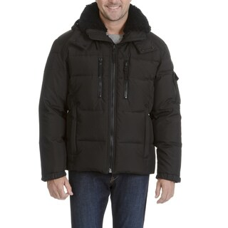 S13 Men's Quilted Faux Fur Trim Collar Hooded Jacket