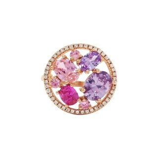 Luxiro Rose Gold Finish Sterling Silver Multi-color Cubic Zirconia Circle Ring