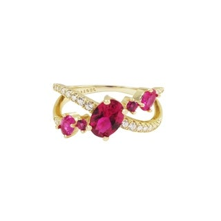 Luxiro Gold Finish Sterling Silver Lab Created Ruby With Cubic Zirconia Ring