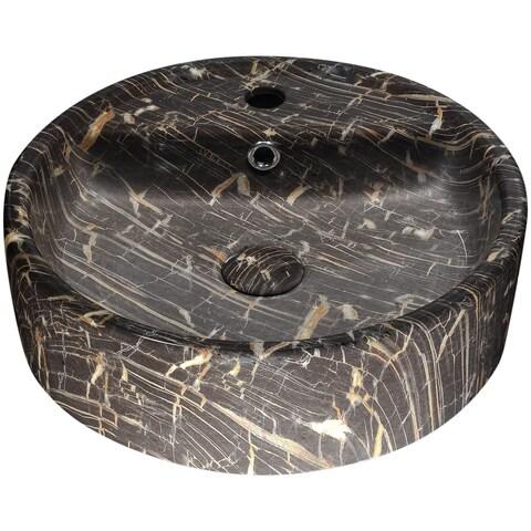 ANZZI Rhapsody Series Ceramic Vessel Sink in Neolith Marble Finish