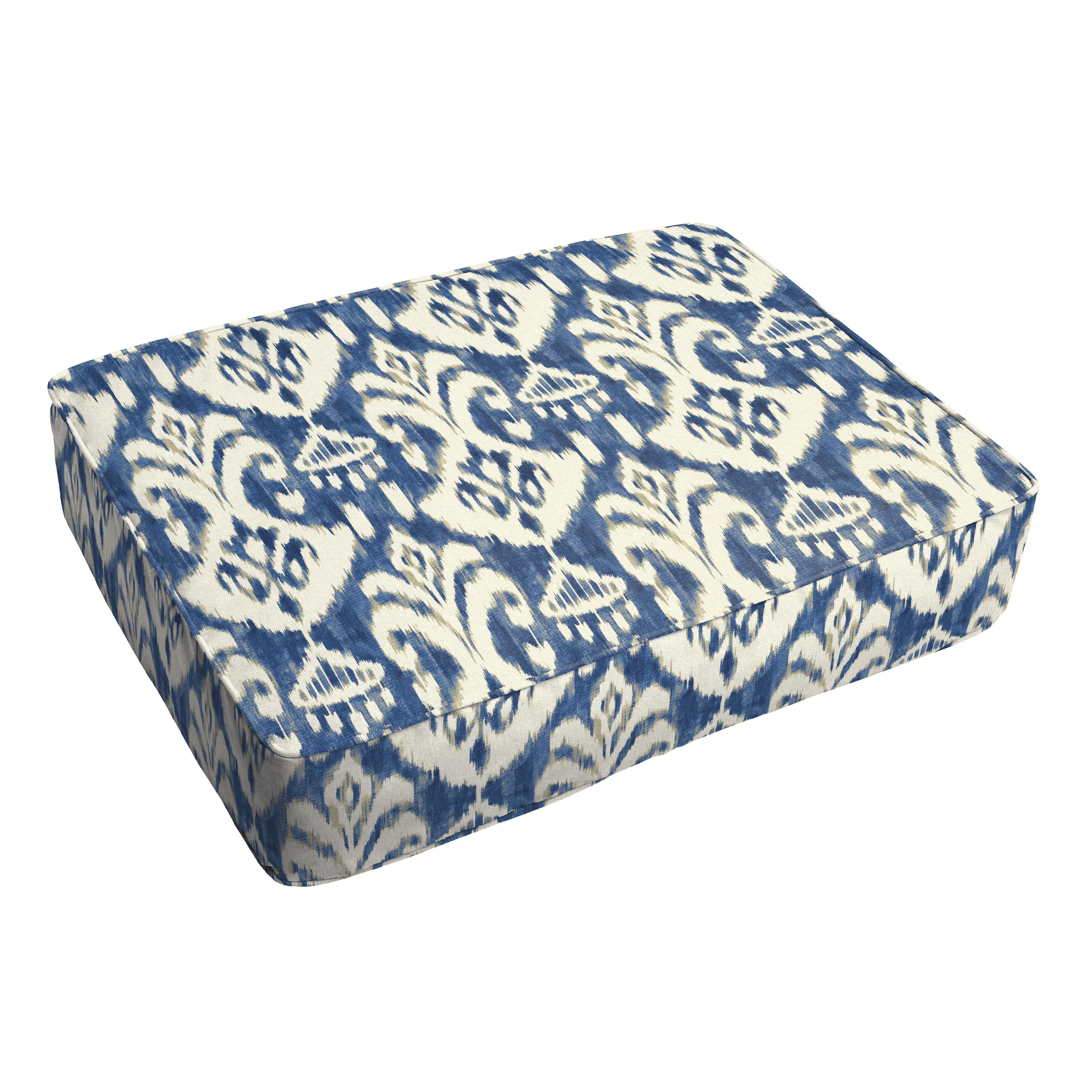 Rainford II Indigo Ikat Indoor/ Outdoor 18 x 29 Inch Corded Floor Cushion (OSCS8128)