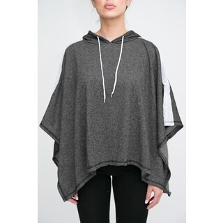 Women's Terry Cloth Poncho with Hoodie (Option: Silver)