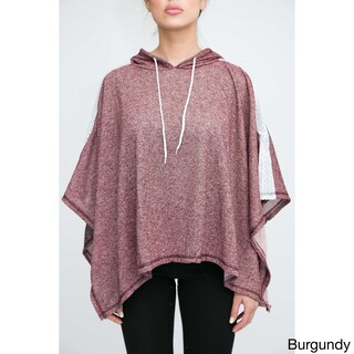 Women's Terry Cloth Poncho with Hoodie (Option: Red)