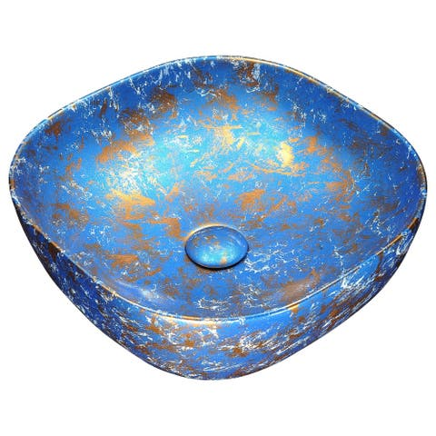 ANZZI Marbled Series Ceramic Vessel Sink in Marbled Tulip Finish