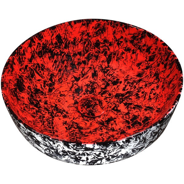 Anzzi Marbled Series Marbled Rose Finish Ceramic Vessel Sink