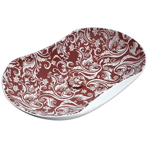 ANZZI Fleur Ecarlate Ceramic Vessel Sink in Crimson Finish