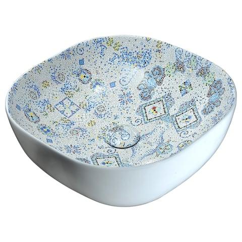 ANZZI Byzantian Series Ceramic Vessel Sink in Byzantine Mosaic Finish