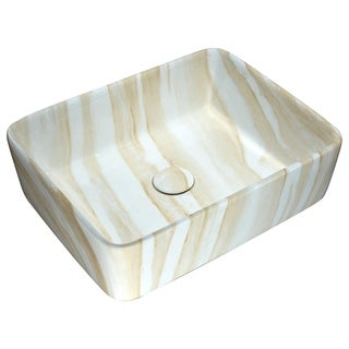 Anzzi Marbled Series Marbled Cream Finish Ceramic Vessel Sink