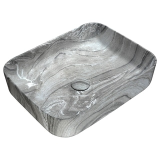Anzzi Marbled Series Marbled Ash Finish Ceramic Vessel Sink (Option: Blue)