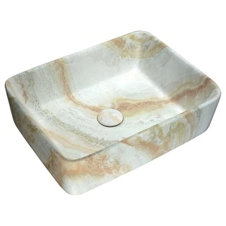 Anzzi Marbled Series Marbled Earth Finish Ceramic Vessel Sink