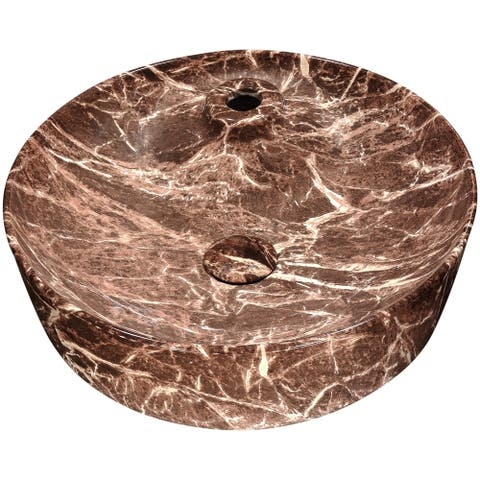 ANZZI Marbled Series Ceramic Vessel Sink in Marbled Chocolate Finish