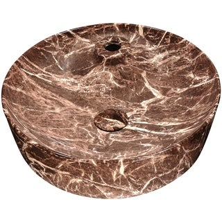 Anzzi Marbled Series Marbled Chocolate Finish Ceramic Vessel Sink