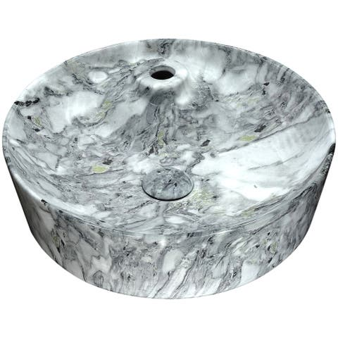 ANZZI Marbled Series Ceramic Vessel Sink in Marbled Snow Finish