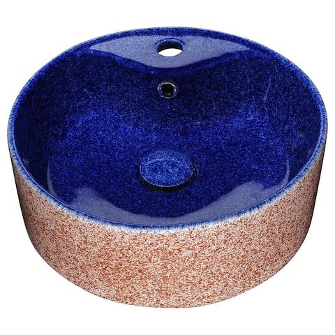 ANZZI Regal Crown Ceramic Vessel Sink in Royal Blue Finish