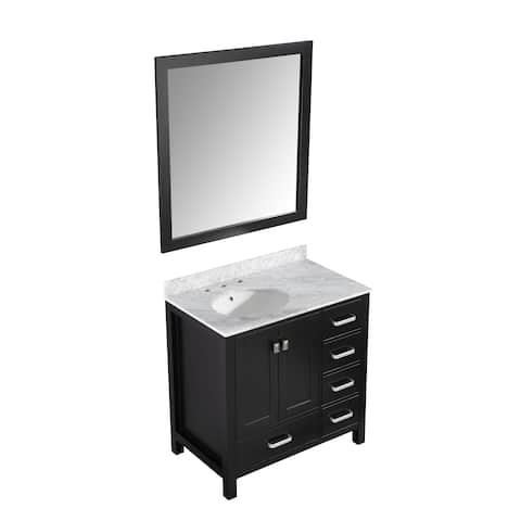 ANZZI Chateau 36 in. W x 22 in. D Rich Black Single Sink Vanity Set