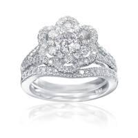 SummerRose 14k White Gold Double Halo Flower Diamond Engagement and Wedding band set