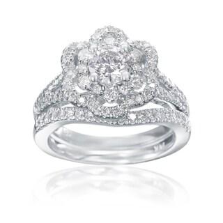 SummerRose 14k White Gold Double Halo Flower Diamond Engagement and Wedding Band Set, 1.45ct TDW