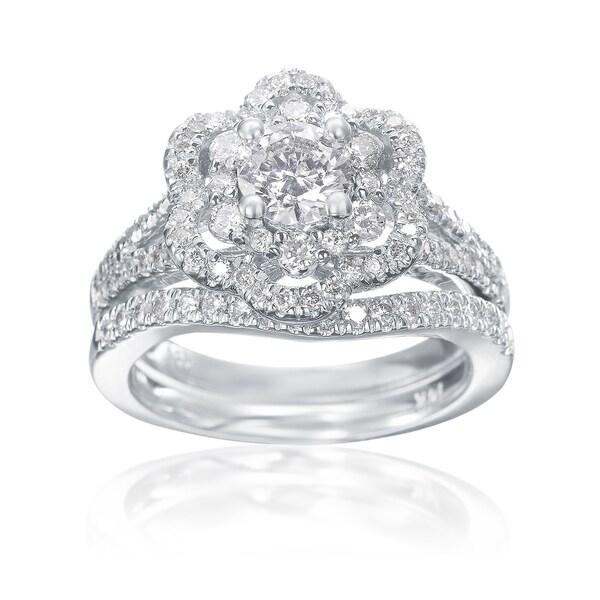 Shop Summerrose 14k White Gold Double Halo Flower Diamond Engagement