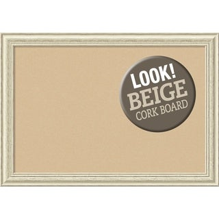 Framed Beige Cork Board, Country White Wash